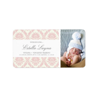 NEW BABY PINK DAMASK | ADDRESS LABELS