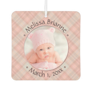 New Baby Pink Plaid Personalized Dated