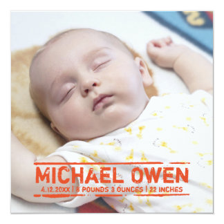 "New Baby Stamp  - Birth Card Announcement 5.25"" Square Invitation Card"
