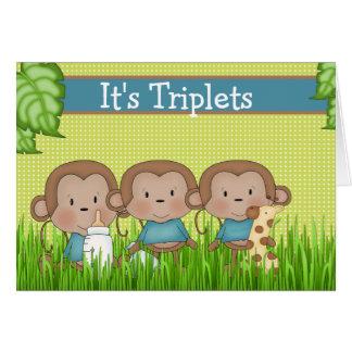 New Baby Triplet Boys Cute Monkey Greeting Card
