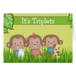 New Baby Triplet Two Boys One Girl Cute Monkey Greeting Card