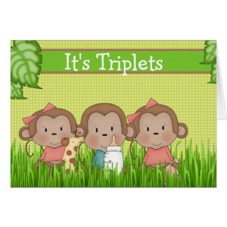 New Baby Triplet Two Girls One Boy Cute Monkey Greeting Card