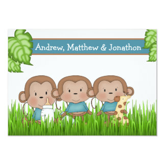 New Baby Triplets Three Boys Cute Monkey 13 Cm X 18 Cm Invitation Card