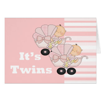New Baby Twin Girls Card