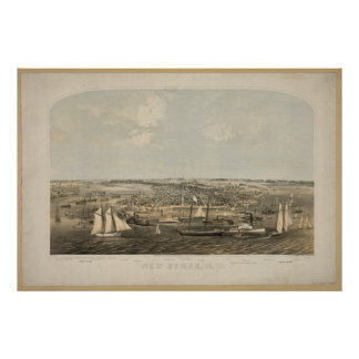 New Bern North Carolina 1864 Antique Panoramic Map Poster