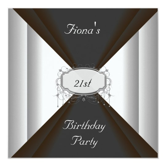 NEW Birthday Party Black Silver Invitation