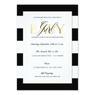 NEW Black & White Stripe Baby Girl Shower Gold 13 Cm X 18 Cm Invitation Card