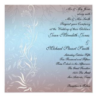 """New Blue Wedding Invitation 5.25"""" Square Invitation Card"""