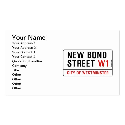 Collections of london street sign business cards new bond street business cards reheart Choice Image