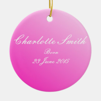 New born baby girl name and date of birth round ceramic decoration