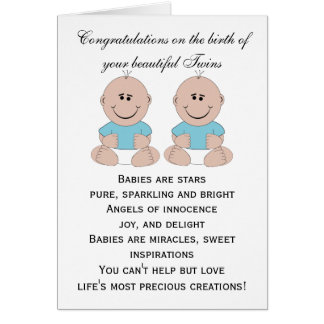 New Born Baby Twins Greeting Card