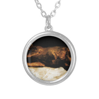 New-Born Calf Lying on Straw by Vincent van Gogh Round Pendant Necklace