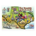New Braunfels TEXAS Map Post Card