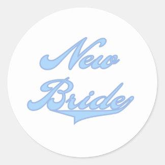New Bride Blue Round Sticker