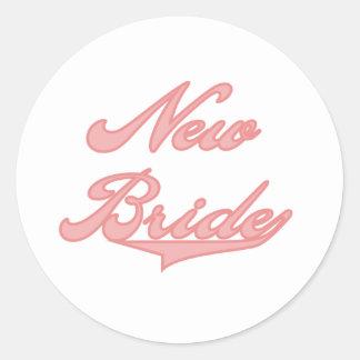 New Bride Pink Round Sticker