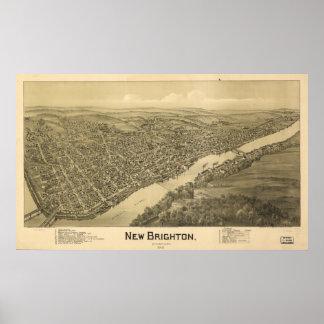 New Brighton Pennsylvania 1901 Antique Panorama Poster