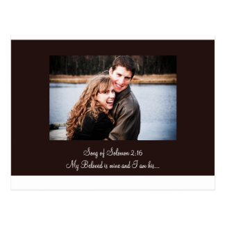 new brown, for the invite, Song of Solomon 2:16... Postcard