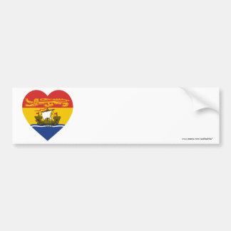 New Brunswick Flag Heart Bumper Stickers