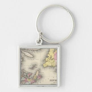 New Brunswick, Nova Scotia, Newfoundland Silver-Colored Square Key Ring