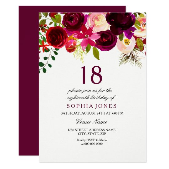 New Burgundy Floral 18th Birthday Party Invite