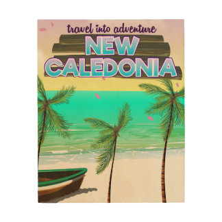 """New Caledon """"travel into adventure"""" travel poster. Wood Wall Art"""