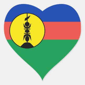 New Caledonia Flag Heart Sticker