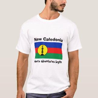 New Caledonia Flag + Map + Text T-Shirt