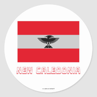 New Caledonia Flag with Name Round Sticker