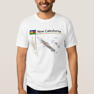 New Caledonia Map + Flag + Title T-Shirt