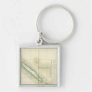 New Caledonia Oceania no 46 Silver-Colored Square Key Ring