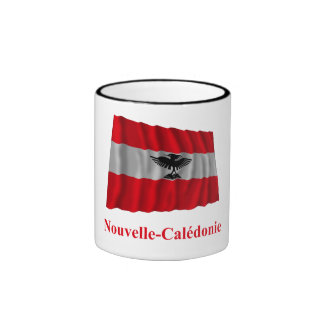 New Caledonia Waving Flag with Name in French Ringer Mug