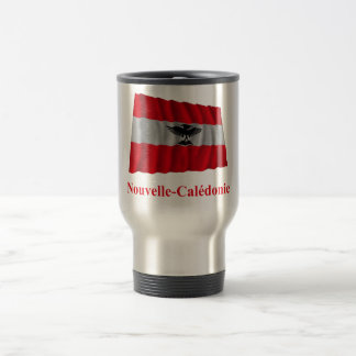 New Caledonia Waving Flag with Name in French Stainless Steel Travel Mug