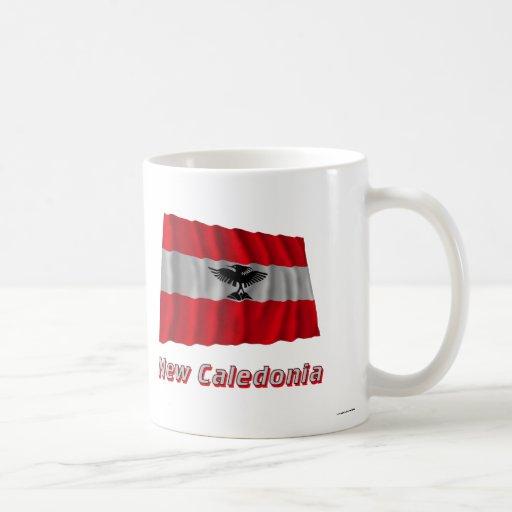 New Caledonia Waving Flag with Name Mugs