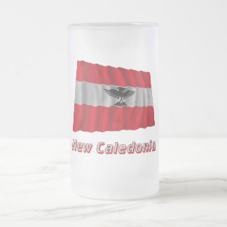 New Caledonia Waving Flag with Name Frosted Glass Mug