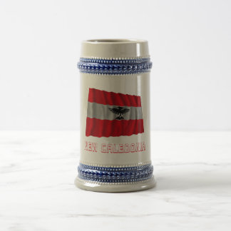 New Caledonia Waving Flag with Name Beer Steins