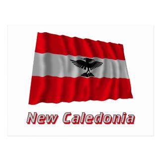 New Caledonia Waving Flag with Name Postcard