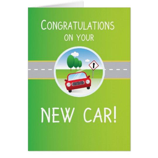 New Car Congratulations, Car on Road Card