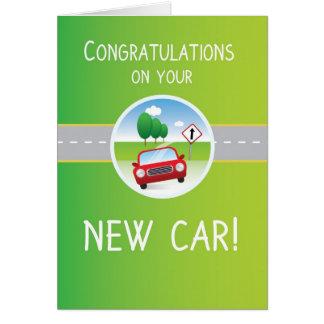 New Car Congratulations, Car on Road Greeting Card