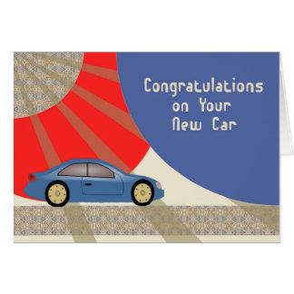 New Car Congratulations, Contemporary with Blue Ca Card