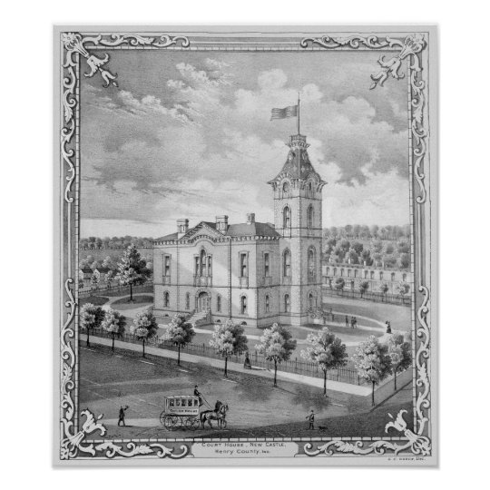 New Castle Indiana Court House Poster