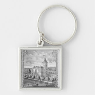 New Castle Indiana Court House Silver-Colored Square Key Ring