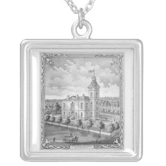 New Castle Indiana Court House Silver Plated Necklace