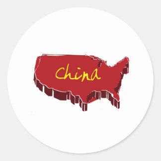 NEW CHINA ROUND STICKER
