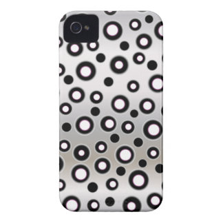 New Cool Blackberry Case Silver Black & White Dots