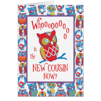 New Cousin Congratulations, Cute Owls Card