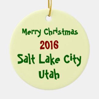 New CUSTOMIZABLE Salt Lake City CHRISTMAS ORNAMENT
