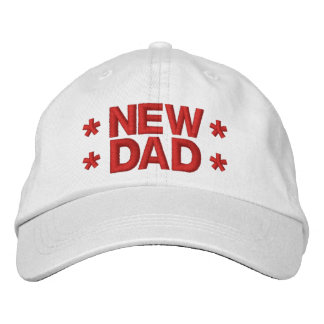 NEW DAD with Stars A02 RED Embroidery Embroidered Baseball Cap