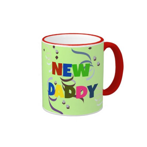 """""""NEW DADDY"""" in colorful lettering Coffee Mugs"""