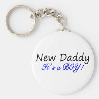 New Daddy Its A Boy Basic Round Button Key Ring