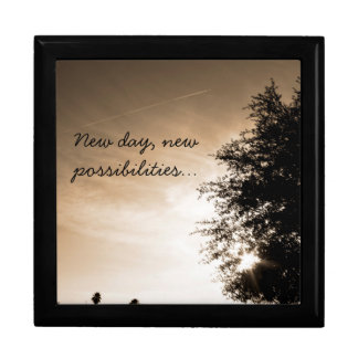 """New day, new possibilities"" Large Square Gift Box"